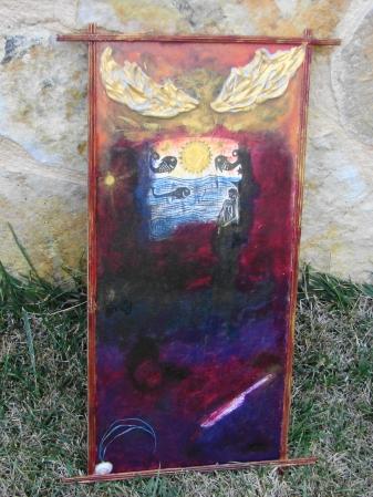 """ YOLO "" On wood 50 x 25 cm."