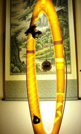 """ Om Ma Ni Pad Me Hum "" Hand sculptured wax with insert light - Σκαλισμένο κερί με ένθετο φωτισμό 150 x 40 cm."