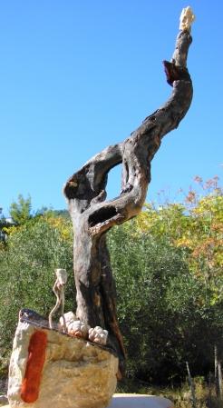 """ Ascension "" Driftwood & stone - Αλίκτυπο ξύλο & πέτρα 90 cm."