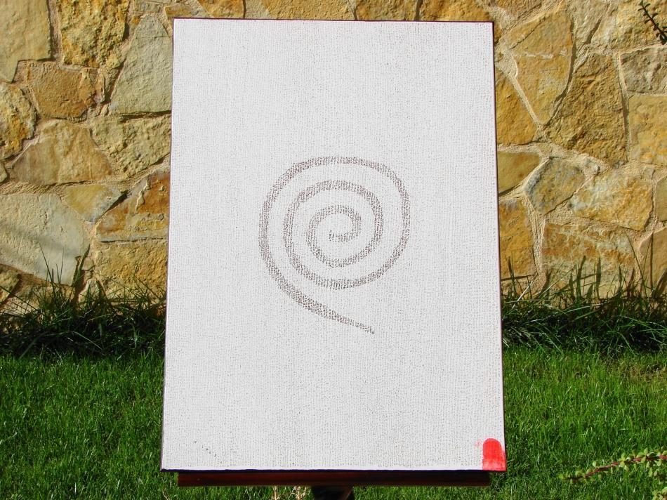 """ Spira "" Ink on canvas - Μελάνι σε καμβά  50 x 70 cm."