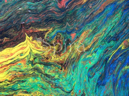 """"""" From Stardust """" On wood 25 x 50 cm."""