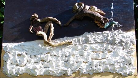 """ Hominis Creatio "" On wood, acrylic paint, plaster, driftwood - Σε ξύλο, ακρυλικά χρώματα, γύψος, αλίκτυπα ξύλα 100 x 60 cm."