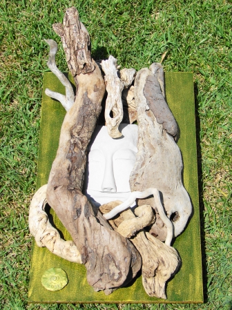 """ Shards of Infinite Love "" Driftwood, hand sculptured plaster, on wood/ Αλίκτυπα ξύλα, σκαλισμένος γύψος, πάνω σε ξύλο 57 x 30 cm."