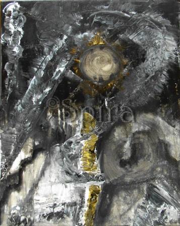 """"""" Ούτε κρύπτει, ούτε λέγει, αλλά σημαίνει """" Acrylic paint on canvas /Ακρυλικά σε καμβά 40 x 50 cm"""